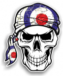 GOTHIC BIKER Pirate SKULL HEAD BANDANA  & MOD Style RAF Target Vinyl Car Sticker 100x121mm